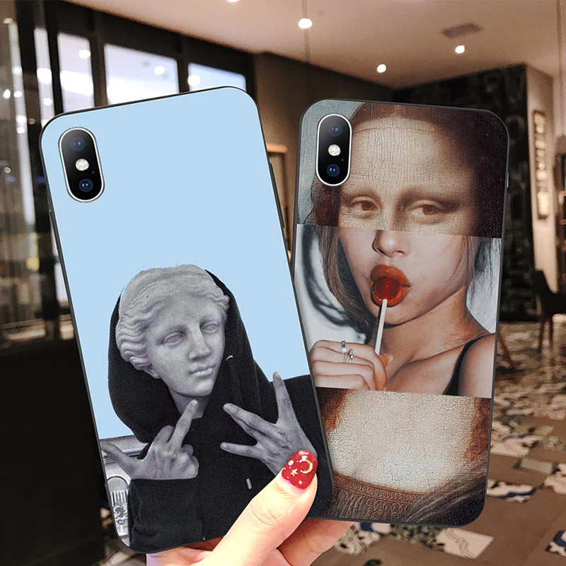 Black Back Ocean Phone Case For iPhone Xs XR XS Max X Classic Picture Cover 6 6s 7 8 Plus Soft TPU Silicon