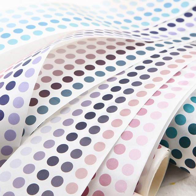School Office Supply Colorful Dots Masking Tapes List Journal Student Notebook Stickers Kids DIY Decorative Diary Scrapbooking 4