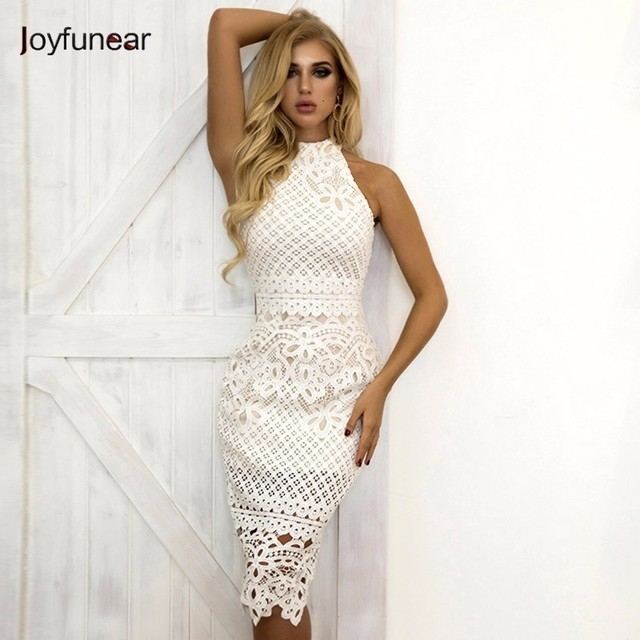 de07ab62752 Joyfunear Summer White Dress Women Hollow Out Sleeveless Sexy Bodycon Dress  Elegant Skinny Floral Pattern Lace