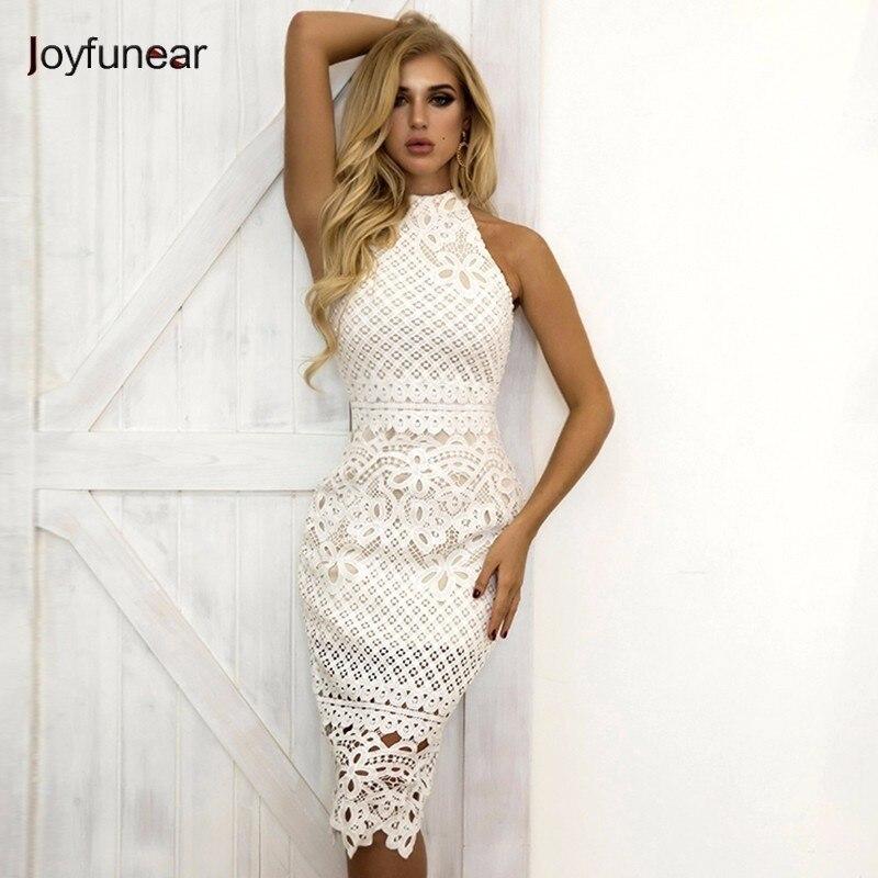 Joyfunear White Dress 2018 Women Hollow Out Sleeveless Sexy Bodycon Dress Elegant Skinny Floral Pattern Lace Dresses Vestido
