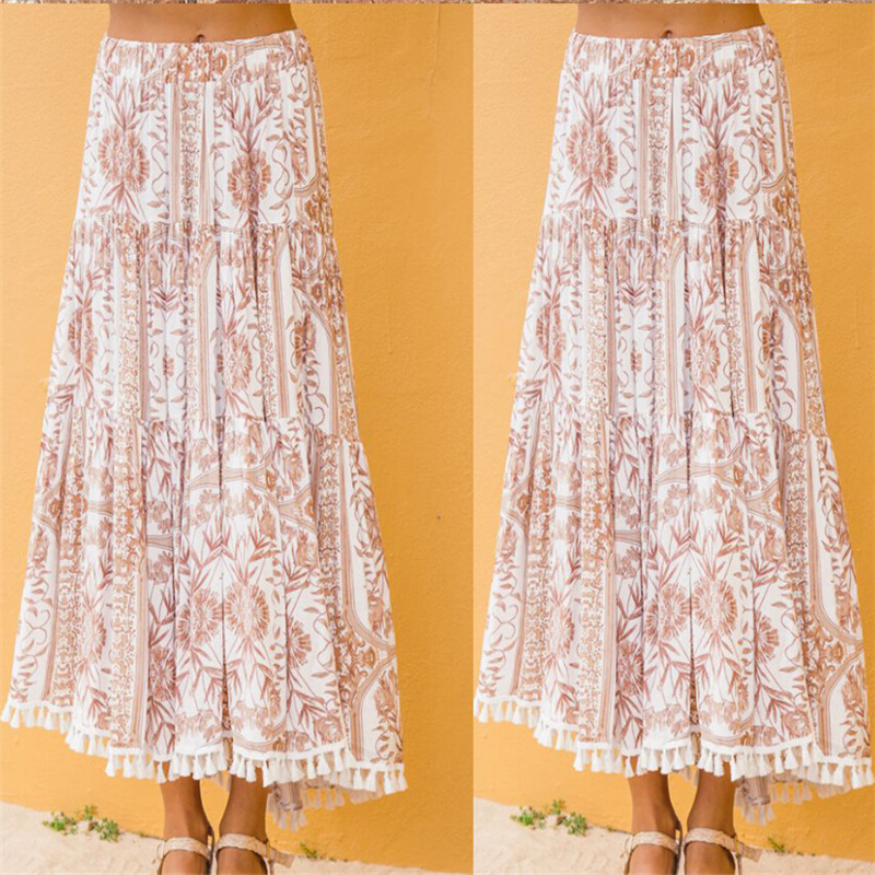 2019  Women ladies Summer Holiday Beach Casual Loose Skirt Long Skirt Beach Skirt Long beach Retro skirts