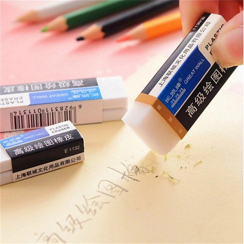 10PCS New Cute White Jelly Eraser Rubber Erasers Correction Stationery School Supplies Naterial Long Strip Cube Drawing Eraser