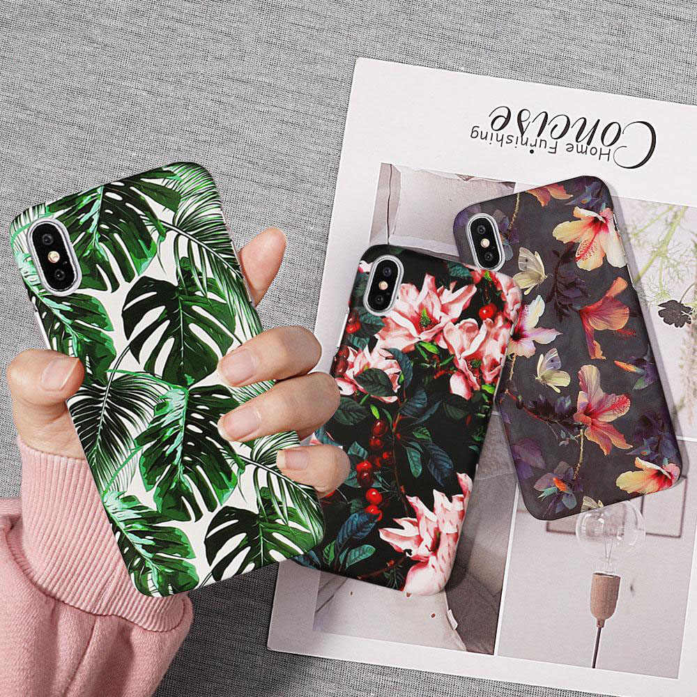 3D Leaves Flowers Pineapple Phone Case For iPhone X XS Max XR 8 7 6 6S Plus Matte Hard PC Back Cover Coque For iphone 7 Plus