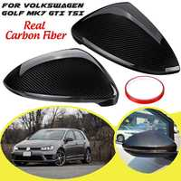 Car Real Carbon Fiber Rearview Mirror Cover For Volkswagen Golf MK7 Golf 7 GTI TSI 2014 2015 2016 2017 Sticker Styling