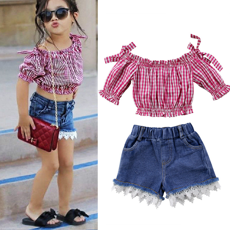 2Pcs Set Summer Toddler Kids Girls Plaids Off Shoulder Tops T-Shirt Lace Denim Shorts Outfits Clothes