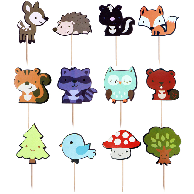 36PCS Animals Cake Topper Woodland Cute Decorative Cartoon Cake Decor Party Supplies Cupcake Picks for Wedding Birthday Party