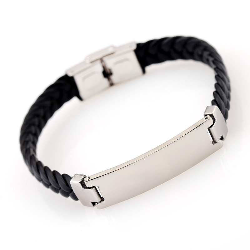 Custom Engraved Stainless Steel Bracelet Mens Jewelry Personalized Titanium Leather Fashion Hand Woven Wristband ID Wrist Band bracelet