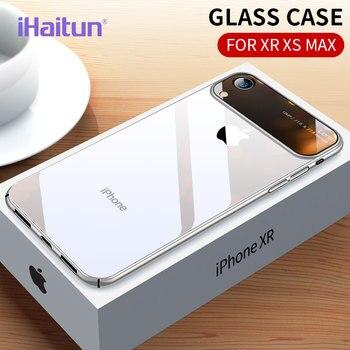 b0cab03f860 IHaitun de lujo de cristal de la lente para iPhone XS MAX XR X Ultra Thin PC  transparente cubierta para iPhone X 10 7 8 Plus + duro