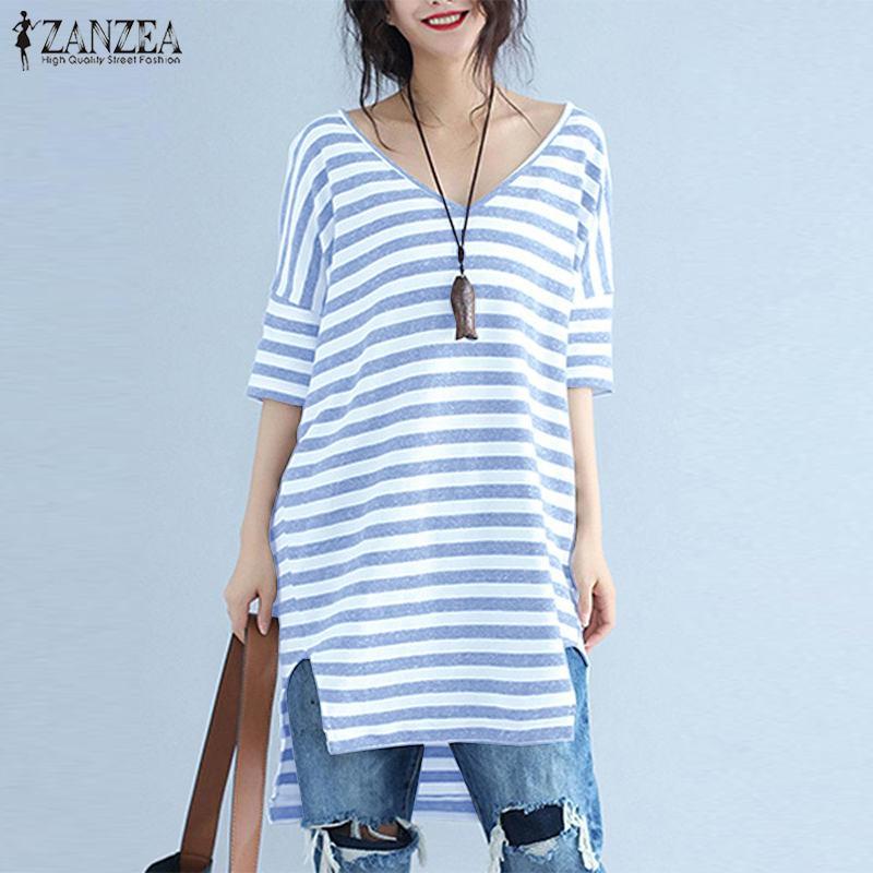 ZANZEA 2020 Summer Elegant Women V Neck Short Sleeve Striped Blouse Loose Top Casual Work OL Shirt Femme Blusas Chemise Oversize