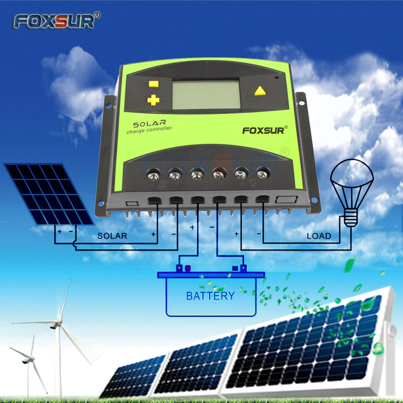 Foxsur Pv Solar Charge Controller 50a 60a Pwm 12v 24v Auto Solar Panel Charging Discharge Regulator With Large Power Heat Sink - 2