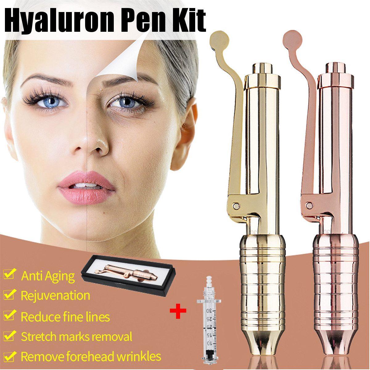 Stylo d'injection hyaluronique Massage atomiseur stylo Kit pistolets à haute pression acide Anti-rides eau seringue aiguille Injection beauté