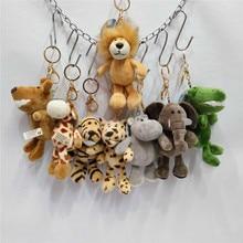 10 pcs lot bulk Jungle animal bag charms plush toy stuffed doll key chains