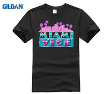 GILDAN New MIAMI VICE Classic TV Series Don Johnson Mens White T-Shirt Size T Shirt Casual Man Tees Game