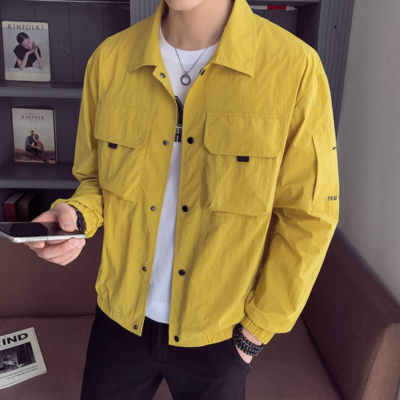 2019 New Fashion Male Thin Section Will Pocket Jacket Loose Coat Sunscreen Clothes windbreaker streetwear Yellow Free shipping