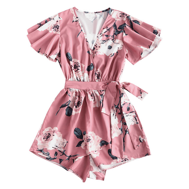 ZAFUL Floral Print Belted Layered Romper Women Jumpsuit Fall Loose Plunging Neck Butterfly Sleeve Mini Playsuits  Overalls 4