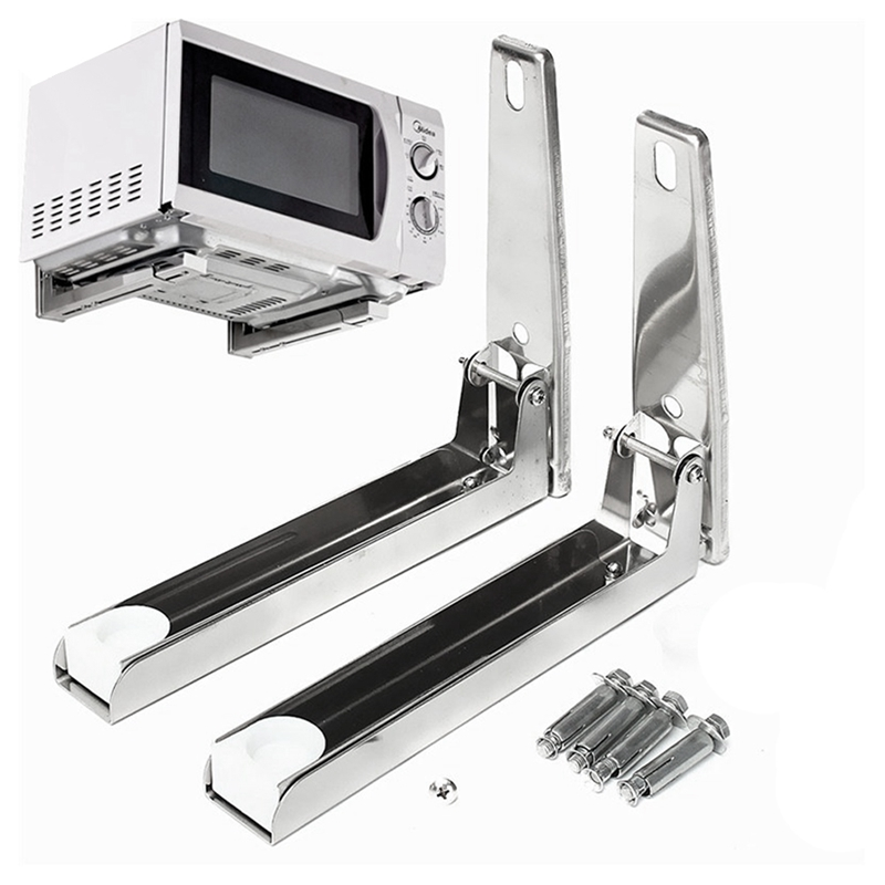 304 Stainless Steel Microwave Oven Rack Wall-mounted Kitchen Shelf Retractable Bracket Oven Rack Thicken Version Thickened Hold