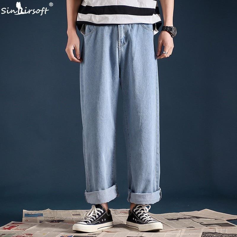 SINAIRSOFT Men's Loose Wide Leg Skateboard   Jeans   Straight High Street Hip Hop Casual Ankle-length Pants Streetwear Pops Pants