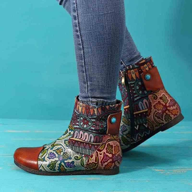 Socofy/ботинки из натуральной кожи с принтом в стиле ретро; женская обувь; женские винтажные мотоциклетные ботильоны на молнии; женская обувь; Botas
