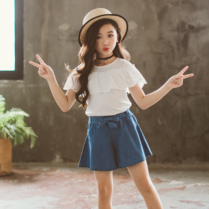 2019 Summer New High Quality Girls Clothing Fashion Jeans Skirt Suit Kids Girls Comfortable Clothes Cute Children 39 s Clothes in Clothing Sets from Mother amp Kids