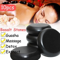 6*6cm 10pcs Massage Stones Massage lava Natural Energy Massage Stone Set Hot Compress Spa Rock Basalt Body Health Care Stone