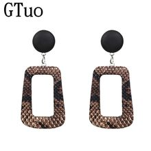 PU Brown Snake Skin Drop Earrings For Women Hollow Square Leather ZA Maxi Earrings African Party Wedding India Fashion Jewelry(China)