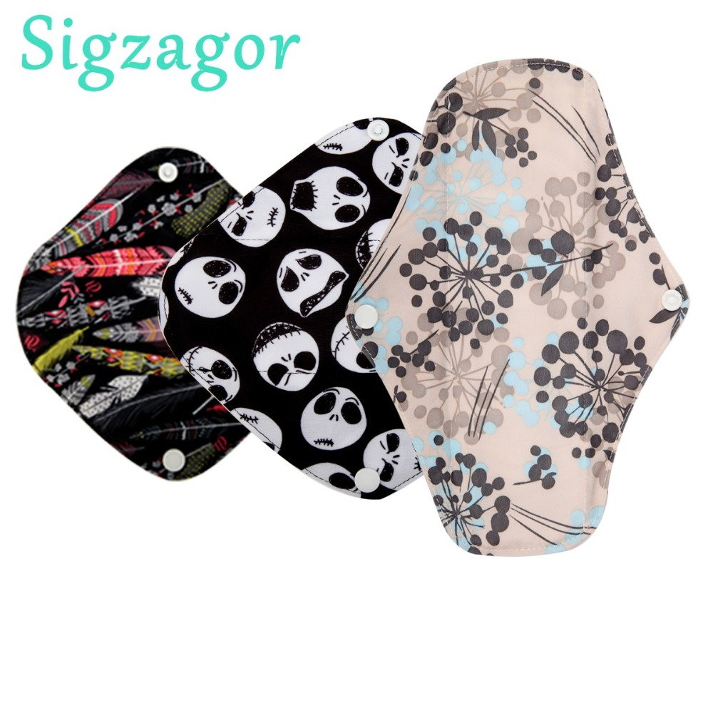 [Sigzagor]1 XS S M L Long Panty Liner Cloth Menstrual Pad Bamboo Charcoal Mama Sanitary Reusable Washable Mix Size