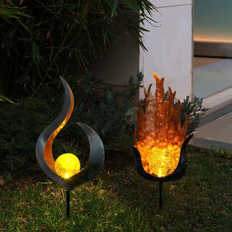 1/2pcs New Solar Powered Soalr Flame Light Flame Effect A/B style LED Garden Light Outdoor Lawn Ornament Warm white light