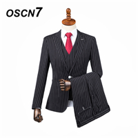 OSCN7 3PCS Tailor Made Suits Men Gentleman Gray Plaid Print Wedding Dress Custom Made Suit Men Fashion Tuxedo DM 008