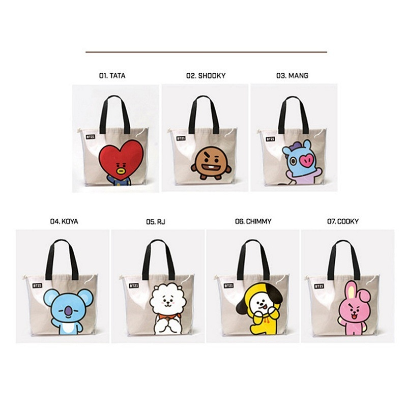 Luggage & Bags Frugal Kpop Bt21 Shoulder Bags Bts Bangtan Boys Tata Cooky Chimmy Portable Jelly Transparent Cosmetic Canvas Shoppingbag Schoolbags Smoothing Circulation And Stopping Pains Kids & Baby's Bags