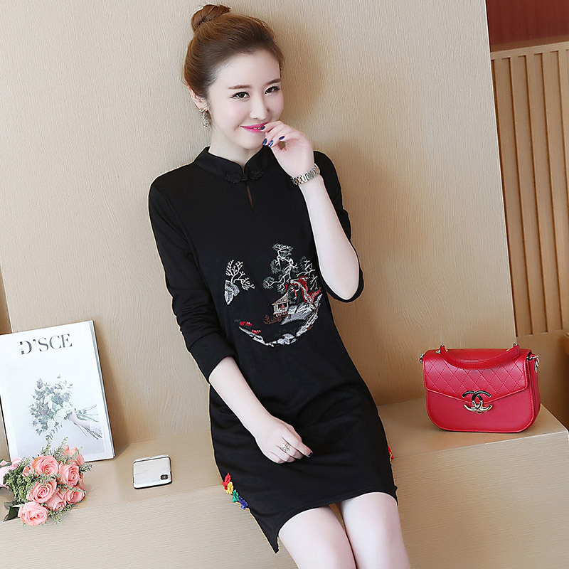 2018 Autumn New Pattern China Nation Wind Self-cultivation Thin Stand Lead Embroidered Long Sleeve Cheongsam Dress