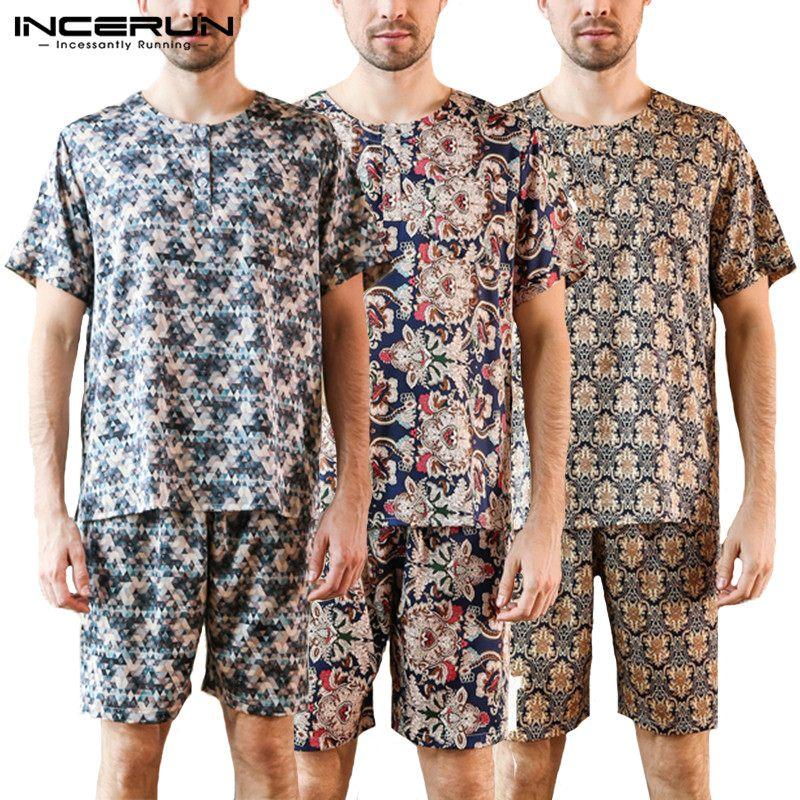 Nightwear Kimono Pajamas Sleepwear Lounge Summer Bathrobe Harujuku Floral Men Fashion