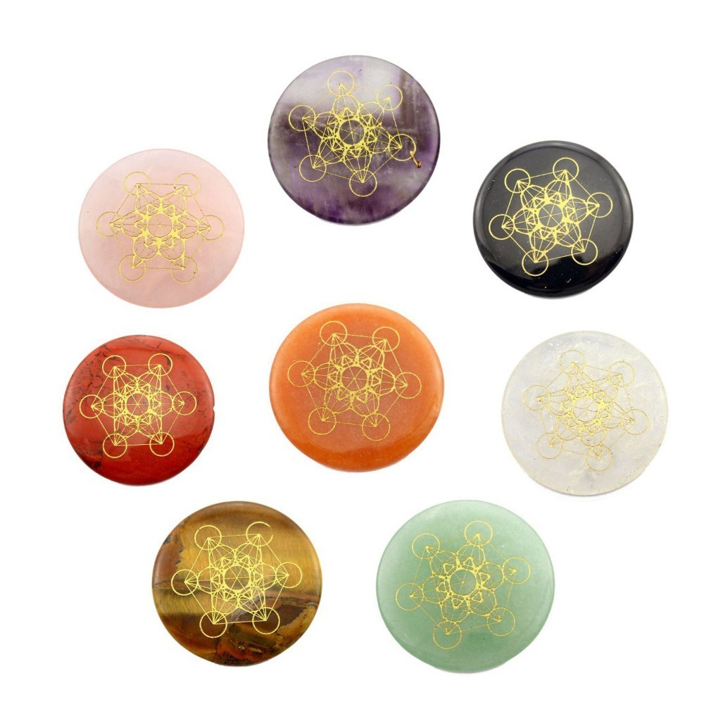 Factory Natural Crystal Flower Of Life Metatrone's Cube Multidimensional Metatron Cube Wafer Energy Decoration Accessories