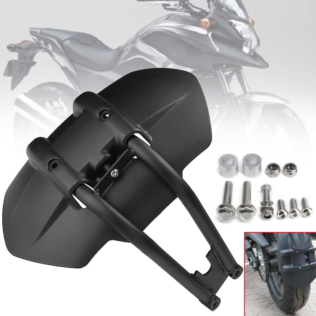 Universal Motorcycle Rear Fenders Flare Mud Flap Mudguard Splash Guard Rear Wheel Cover for Kawasaki BMW Suzuki Yamaha Honda
