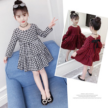 Girls Plaid Long Sleeve Dress 2019 Spring and Autumn New Cotton Bow Childrens Clothing