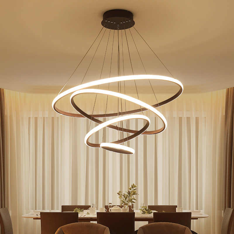 Omicron Creative Modern Pendant Lights White Brown Led Circular Rings Hanging Lamp For Living Room Bed Room Lighting