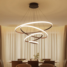 Omicron Creative Modern Pendant Lights White Brown Led Circular Rings Hanging Lamp For Living Room Bed Lighting