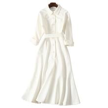 Dressing kleider für frauen cremig weiß audrey hepburn kleid peter pan kragen belted taste midi business kleid für frauen büro