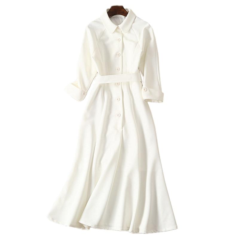 Image 3 - dressing dresses for women creamy white audrey hepburn dress  peter pan collar belted button midi business dress for women  officeDresses