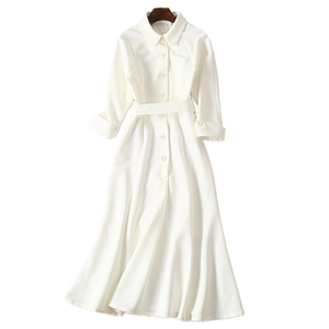 Image 3 - dressing dresses for women creamy white audrey hepburn dress peter pan collar belted button midi business dress for women office