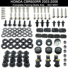 Motorcycle Full Fairing Bolts Kit BodyWork Nu Screw Fit For HONDA CBR 600RR CBR600RR 2003 2004 2005 2006 Stainless Steel Black complete fairing bolt nut screw kit for honda cbr600rr cbr 600 rr 2003 2006 2003 2004 2005 2006 fairing bolt screw accessories