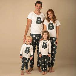 Одинаковые пижамные комплекты для всей семьи с рождественским медведем и мультяшным принтом, пижамные комплекты для взрослых, мам, пап и