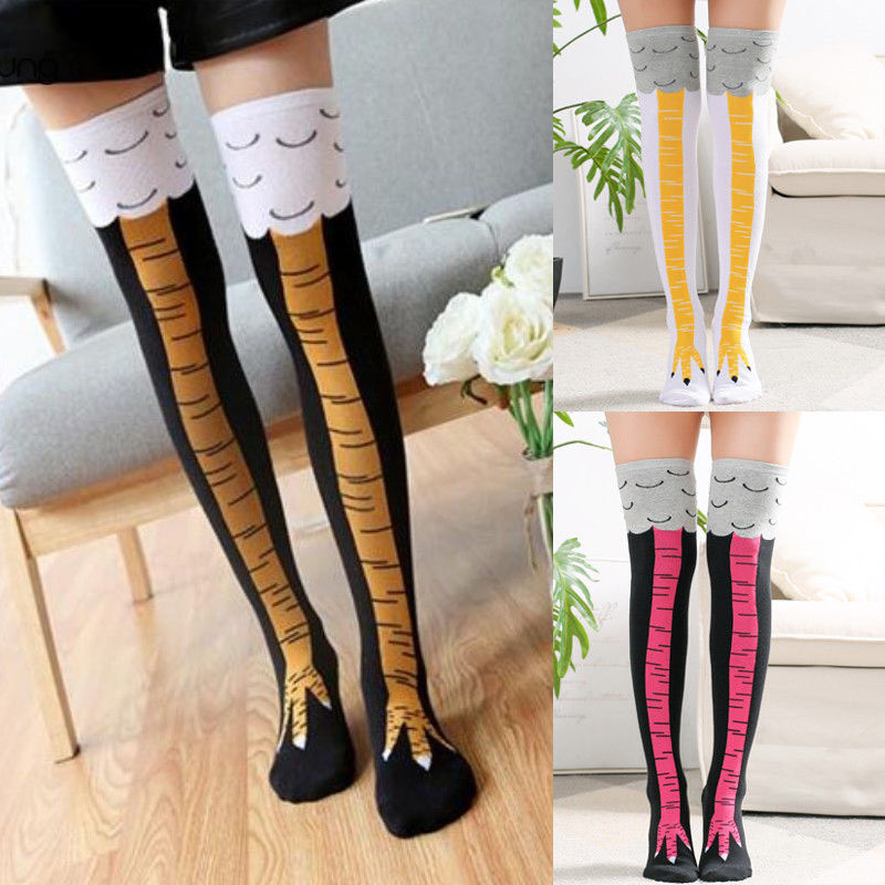 Funny 3D Chicken Toe Feet   Socks   Creative Cartoon Animal Thigh   Socks   With Chicken Print toe Women Men Feet Thigh   Socks