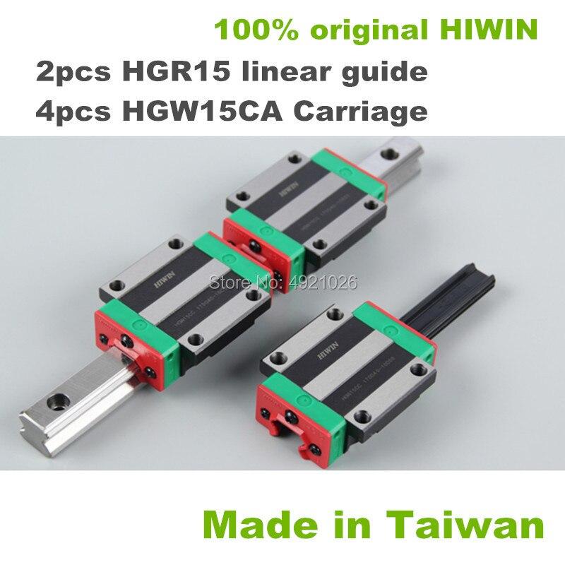 2pcs 100% original HIWIN linear guide rail HGR15 900 950 1000 1050mm with 4 pcs HGW15CA linear block carriage for CNC parts2pcs 100% original HIWIN linear guide rail HGR15 900 950 1000 1050mm with 4 pcs HGW15CA linear block carriage for CNC parts