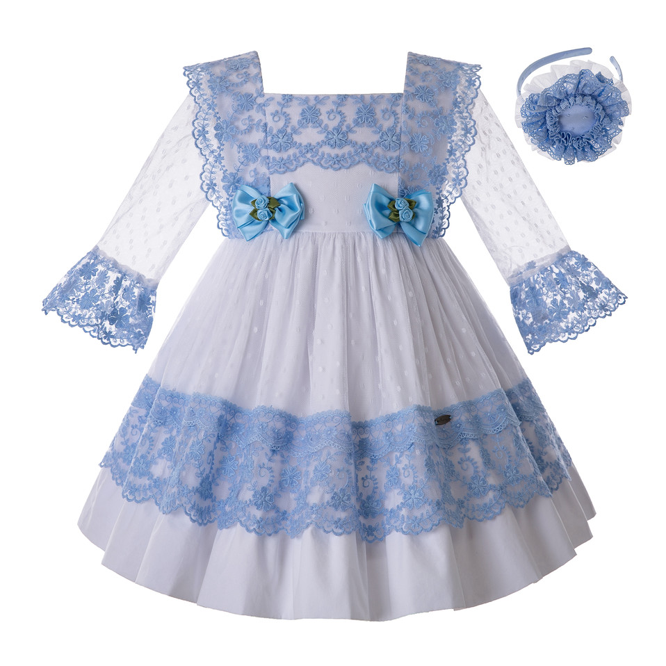 Pettigirl Blue Girls Dress With Bow Carved Hollow Design Girls  Party Dress Lovely Children Clothes G DMGD112 C130BLDresses   -