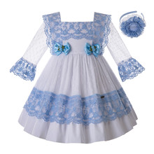 Pettigirl כחול בנות שמלה עם קשת מגולף חלול עיצוב בנות המפלגה שמלה יפה ילדי בגדי G DMGD112 C130BL