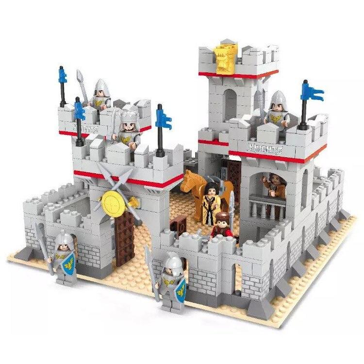 Modelo de bloco de construção conjunto compatível com lego cavaleiros e cavalo castelo 686 pçs 3d tijolo hobbies educativos brinquedos para crianças