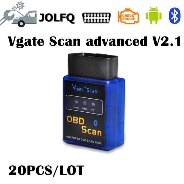 Диагностический сканер ELM327 vgate, Расширенный Bluetooth OBD2 OBDII CAN BUS, диагностический сканер elm 327, адаптер интерфейса для Android ПК, 20 шт.
