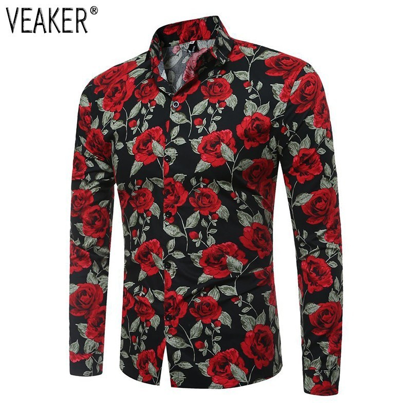 2019 Spring New Men's Floral Printed Shirt Male Red White Long Sleeve Print Shirt Men Slim Fit Flower Shirt Tops M-3XL