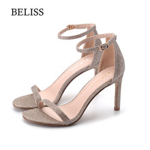 BELISS Fashion Summer Womens Sandals Bling Open Toe High Heels Hollow Sexy Woman Ankle Warap Classic Dress Shoes S27