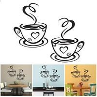 Hot Double Coffee Cups Wall Stickers Casual Style tea Cups Room Decoration Cute Art Wall Decals Adhesive Stickers Kitchen Decor